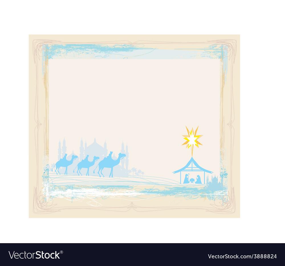 Grunge frame with traditional christian christmas vector