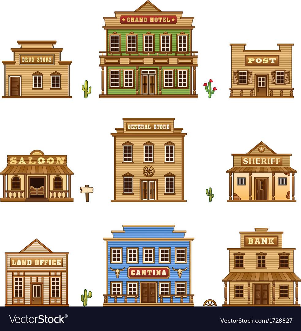 Wild west buildings vector