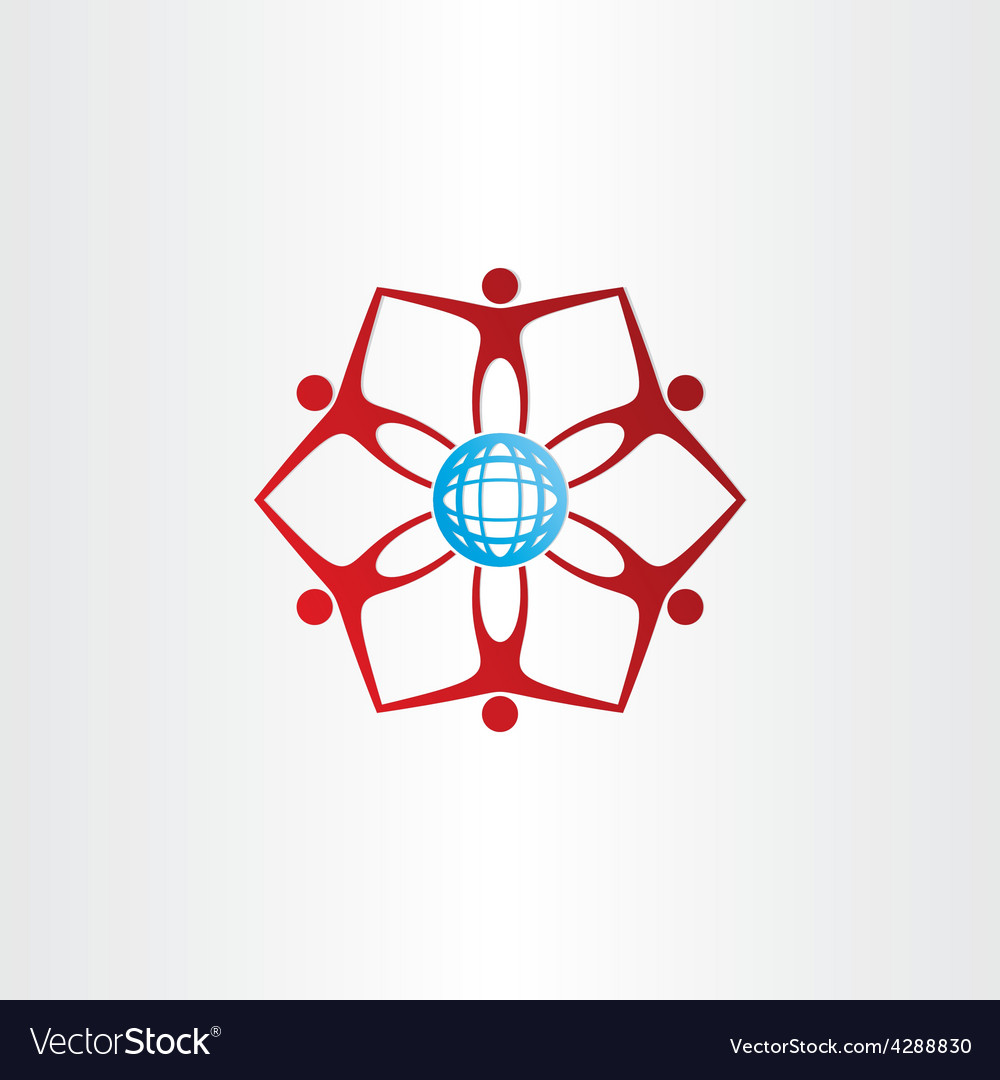 People around golbe network icon vector
