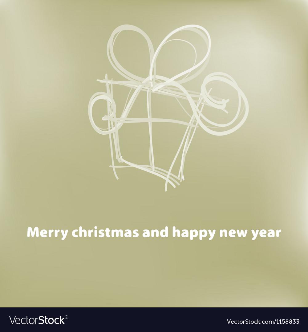 Christmas card gift box with ribbon  eps8 vector