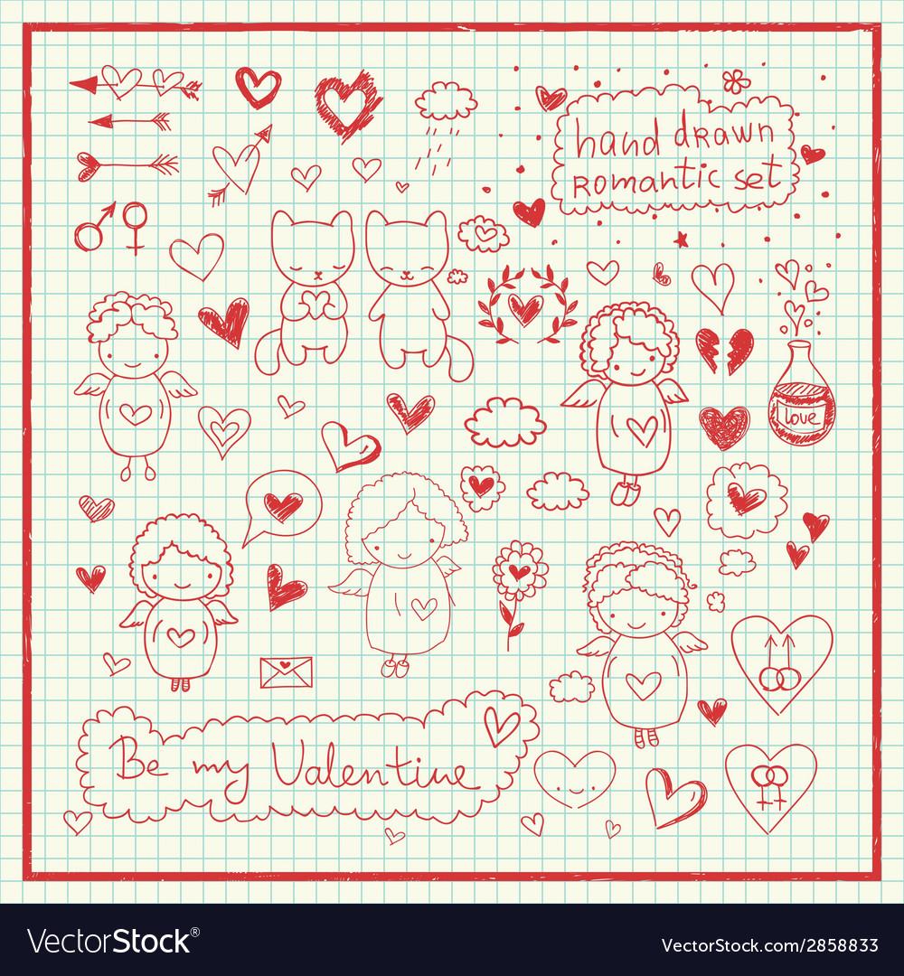 Hand drawn romantic set vector