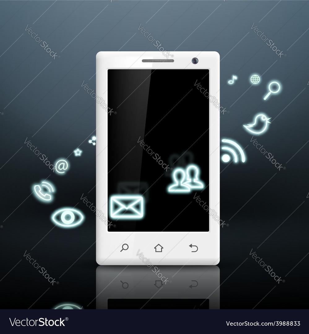 Multimedia icons around the white smartphone vector