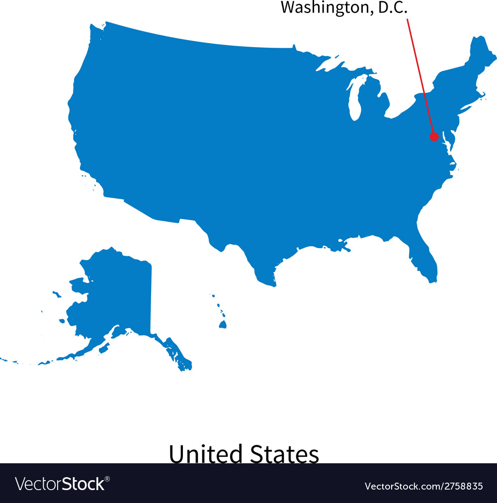 Detailed map of united states and capital city vector