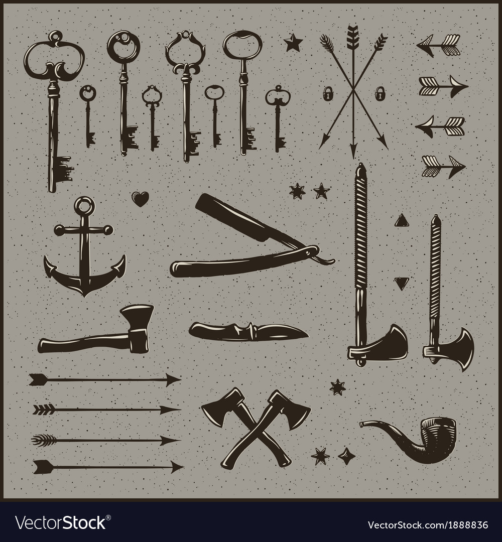 Set of hipster vintage design elements vector