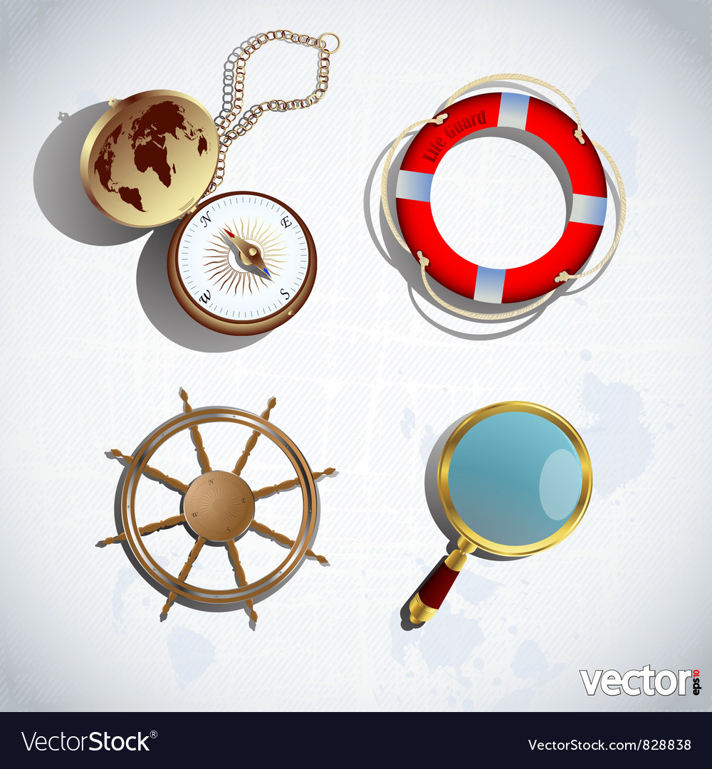 3d sailing icons vector