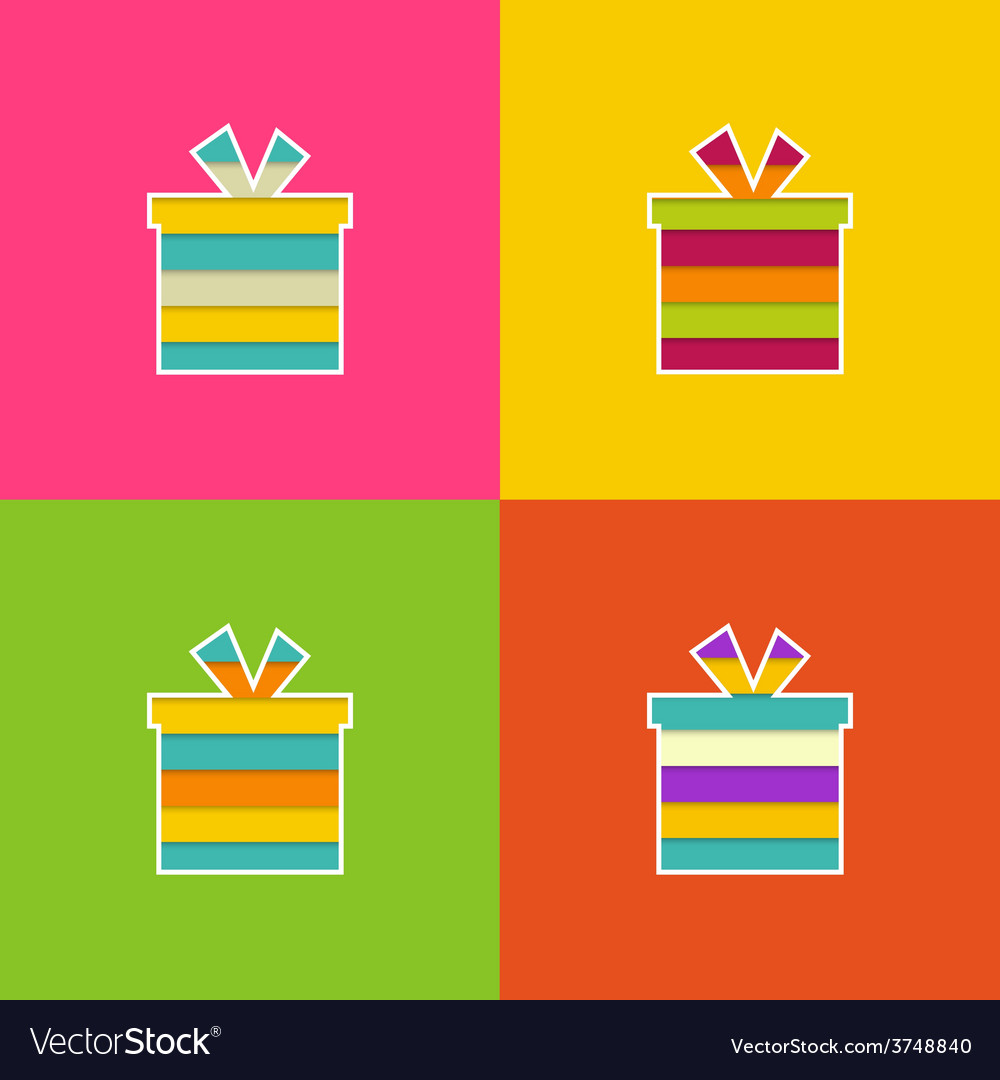 Set of multi-colored bright gift vector