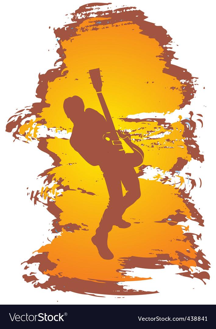 Guitarist grunge vector