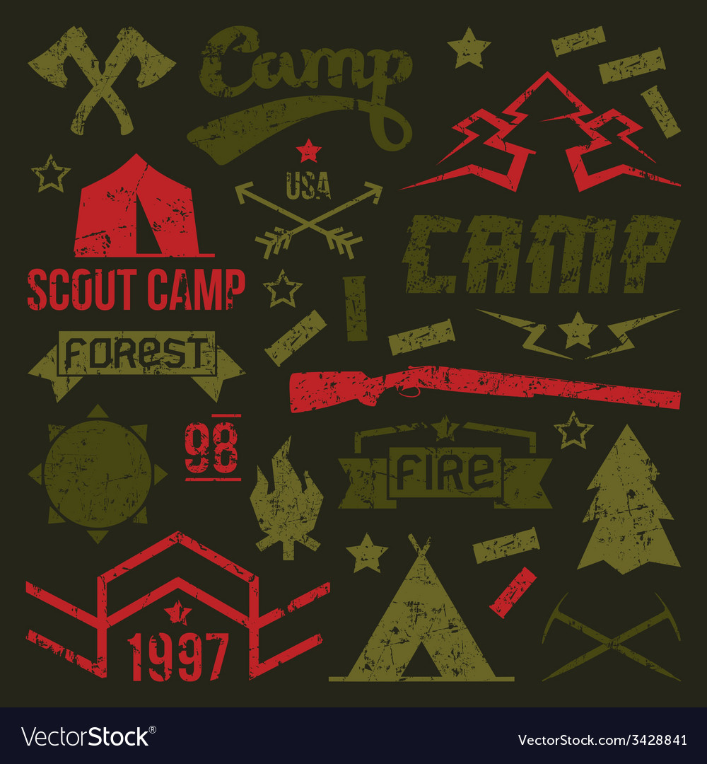 Scout camp badges vector