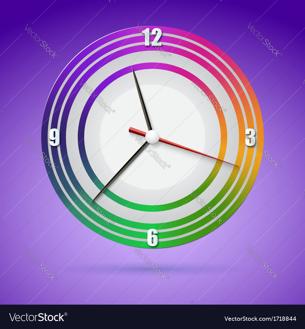 Bright watch with a dial of the rainbow vector