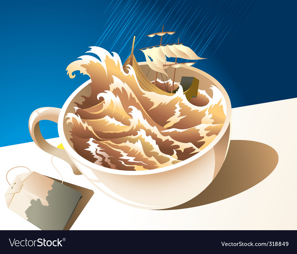 A storm in a teacup vector