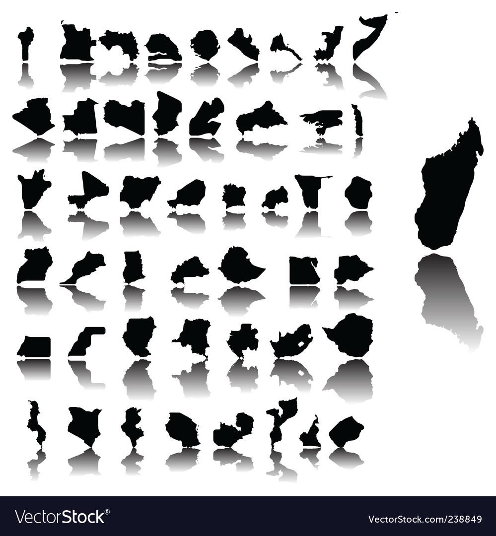 Maps of africa vector
