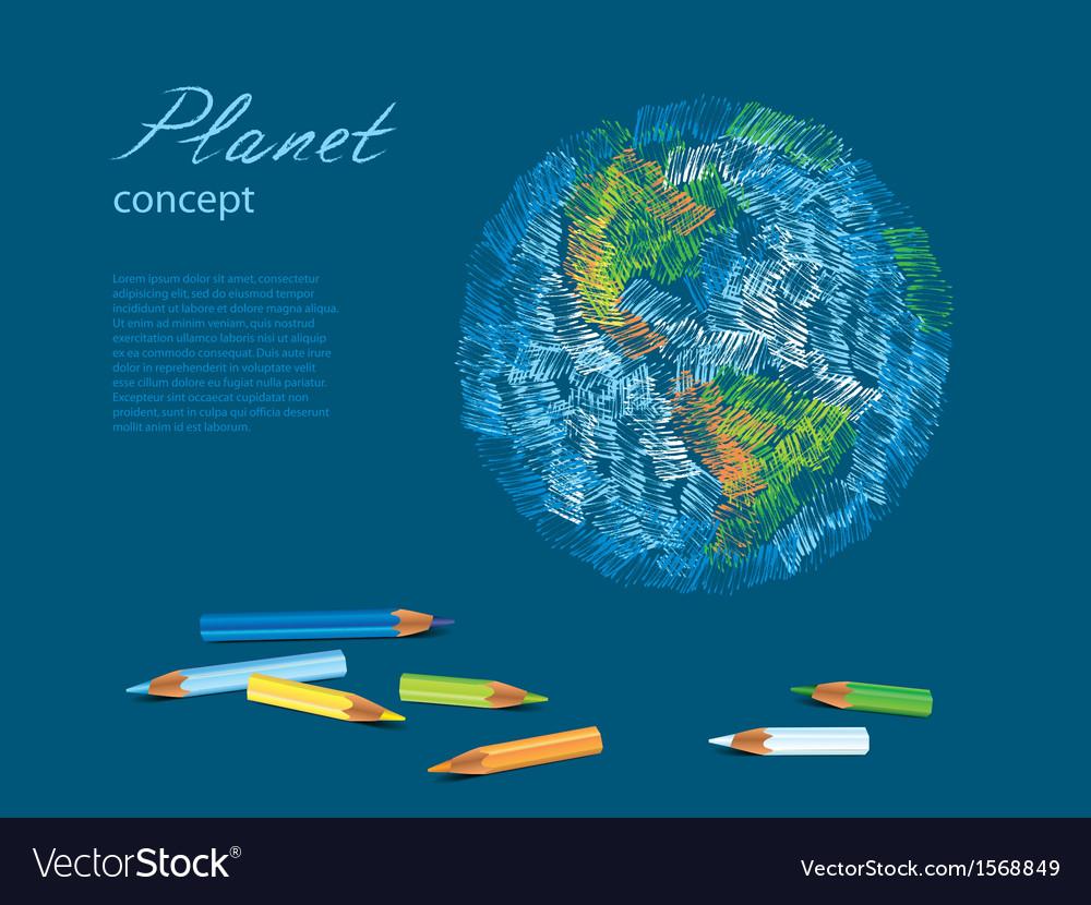 Pencils earth vector