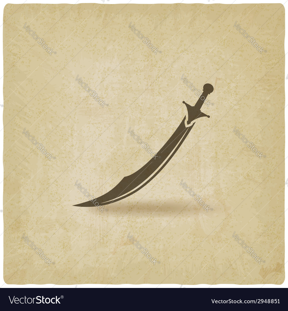 Arabian saber scimitar old background vector
