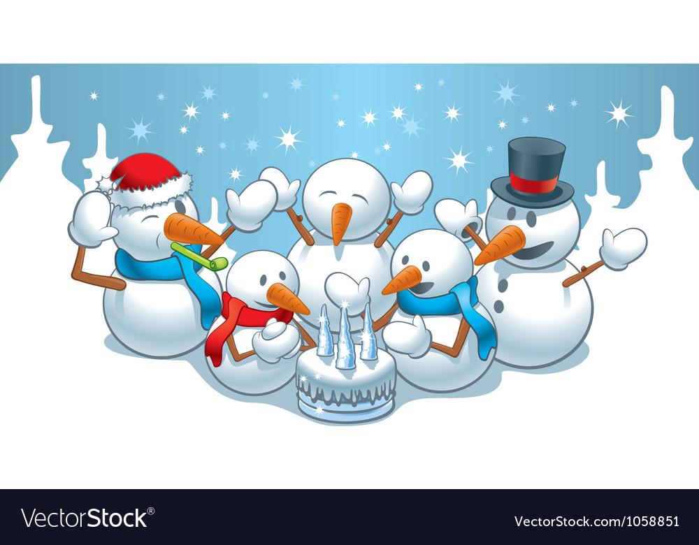 Birthday snowmen vector