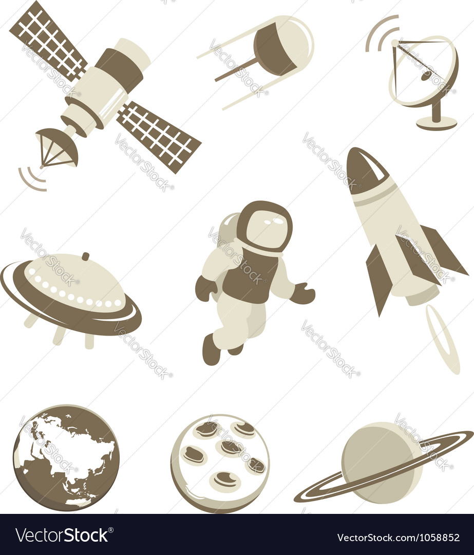 Space and air transport icons set vector