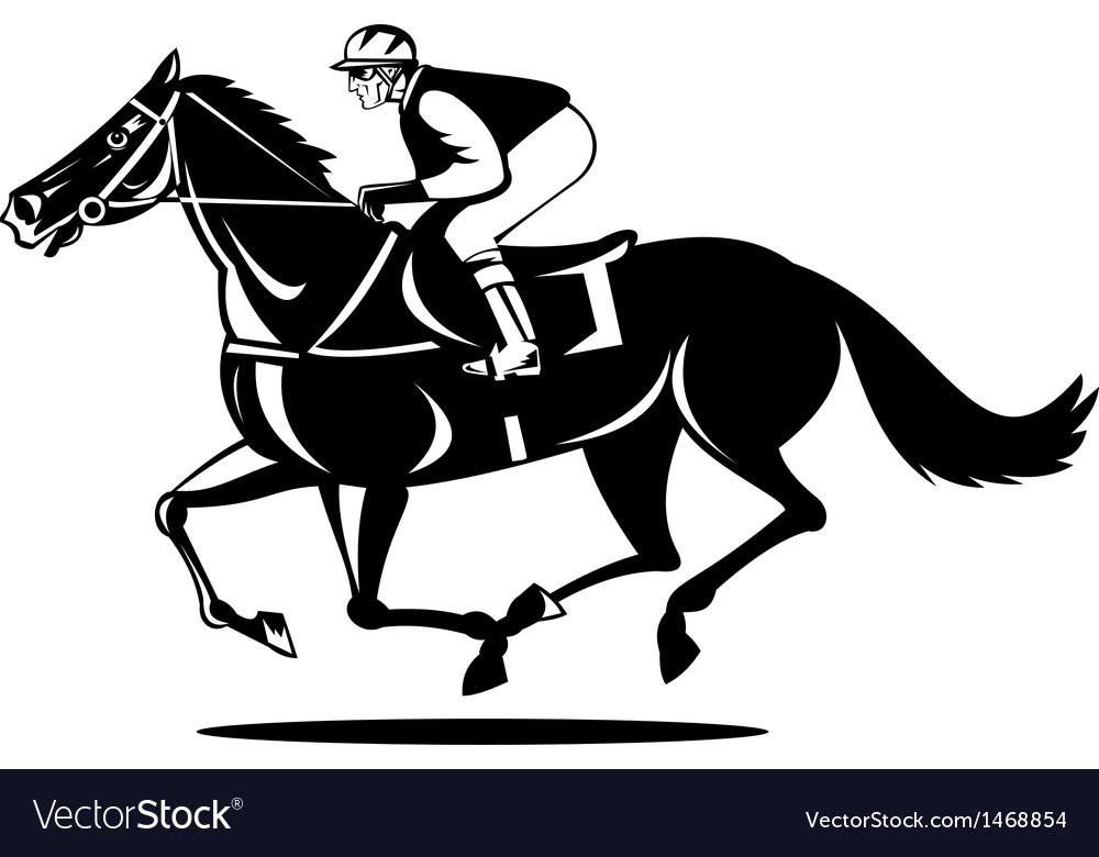 Horse and jockey racing vector