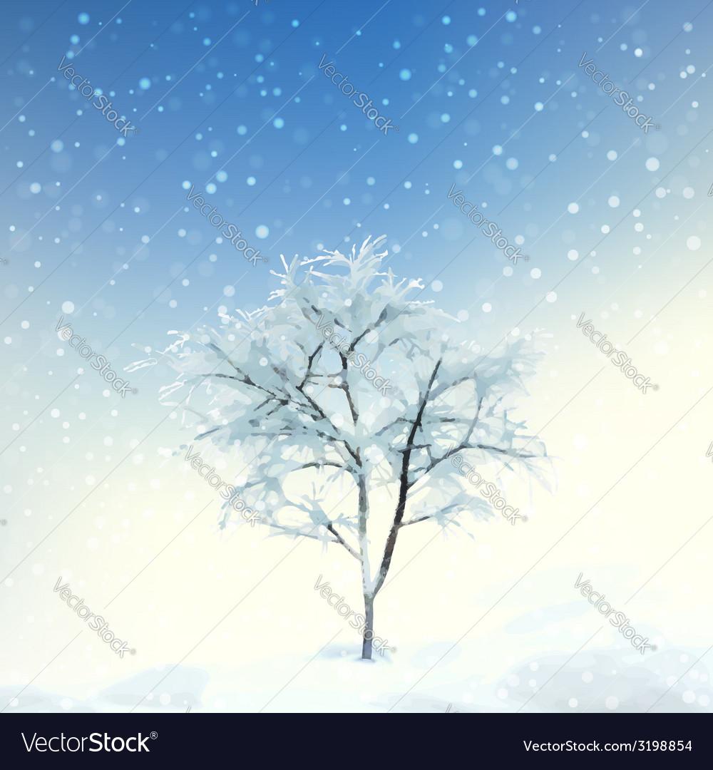 Winter digital watercolor landscape vector