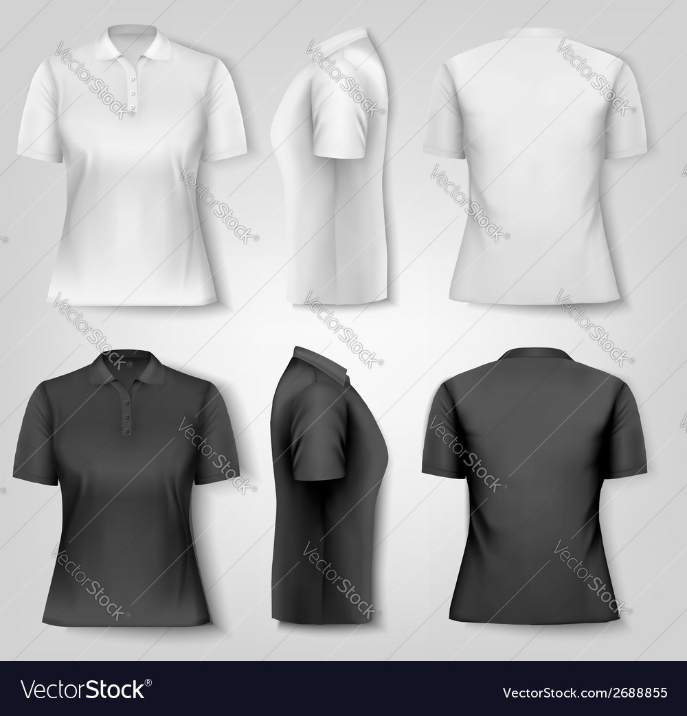 Female polo shirts design template vector