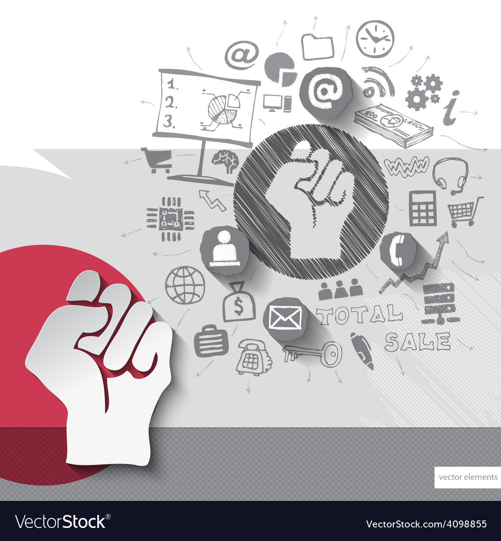 Paper and hand drawn fist emblem with icons vector