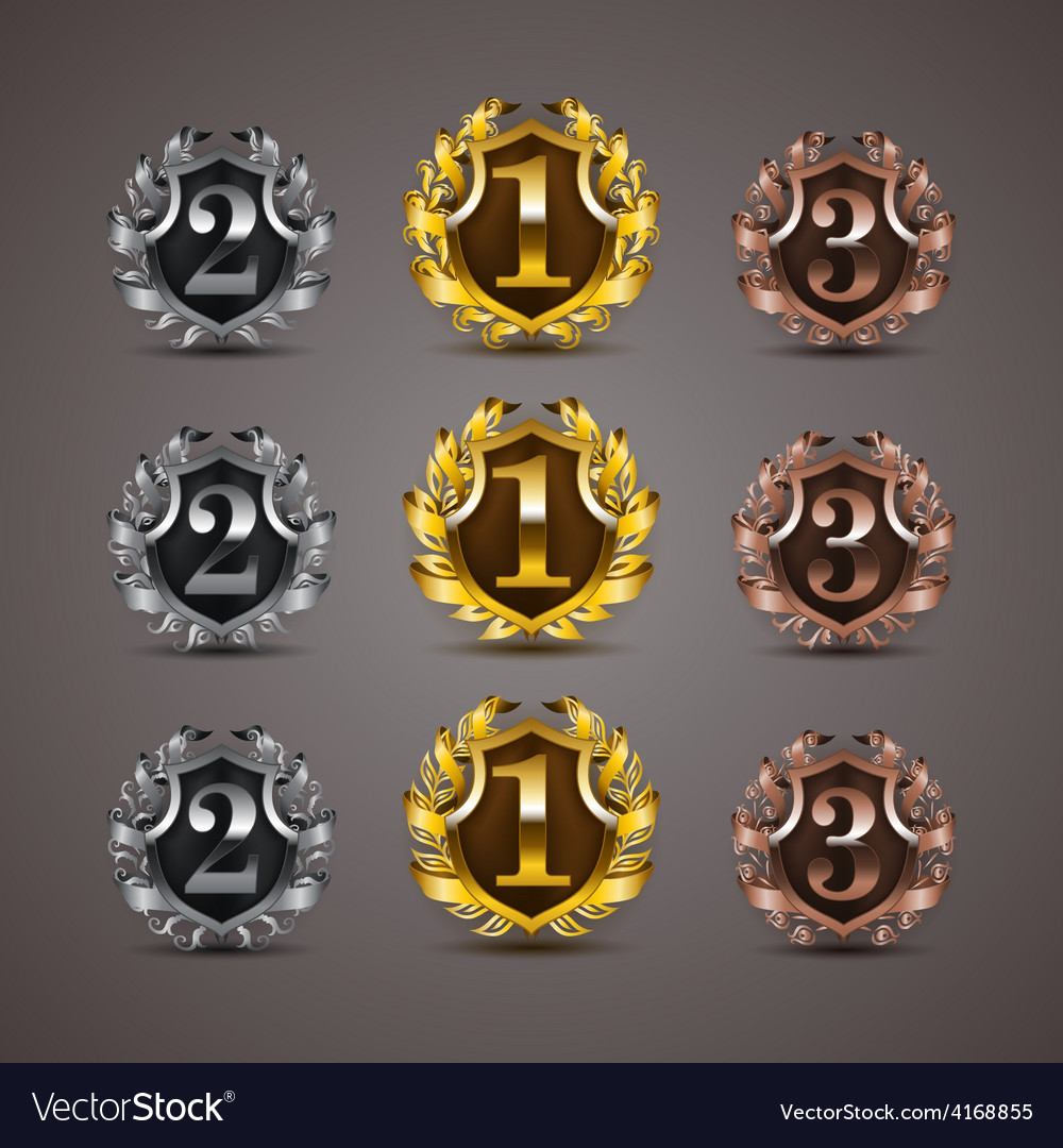 Set of luxury golden shields vector