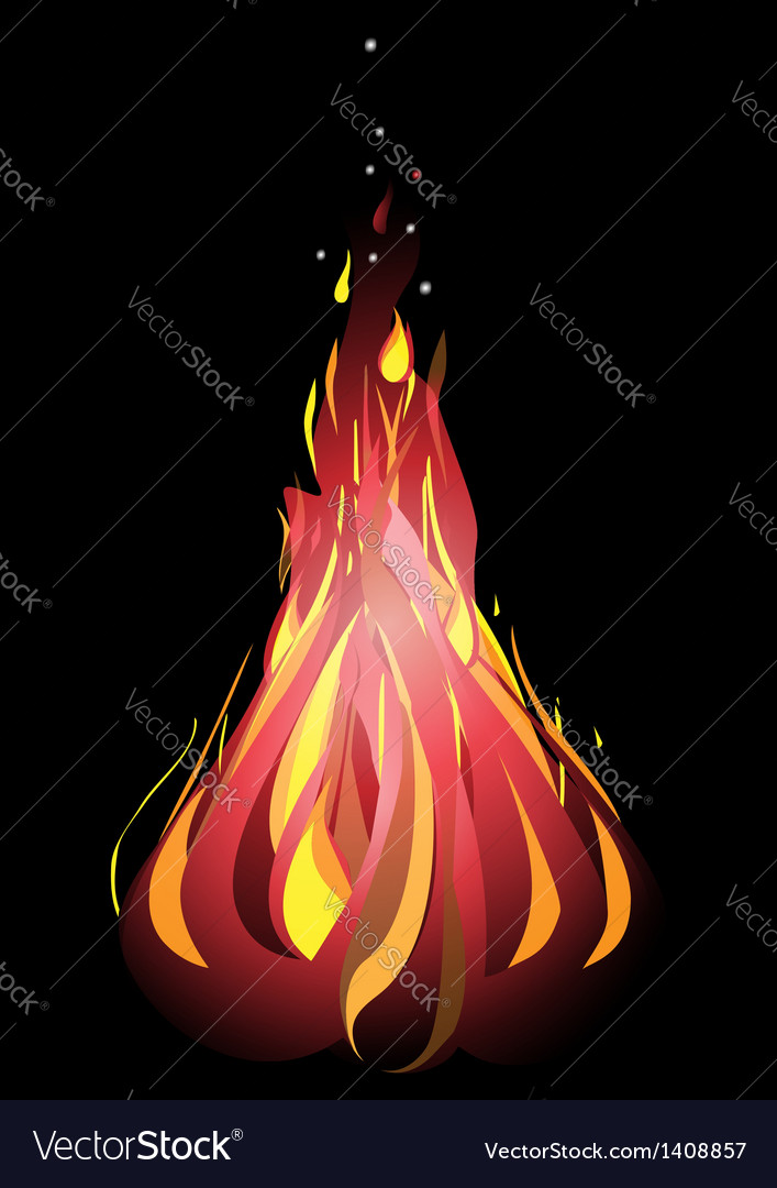 Bonfire with sparks on a black background vector