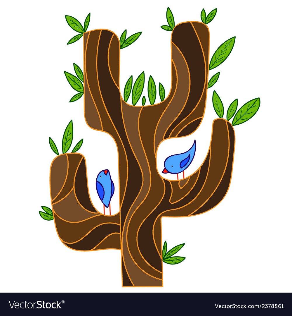 Abstract stylized tree with songbird vector