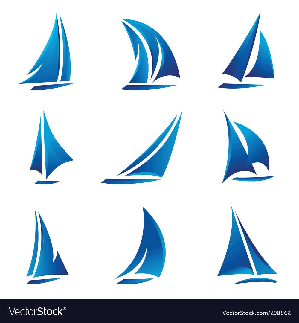 Sailboat symbol vector