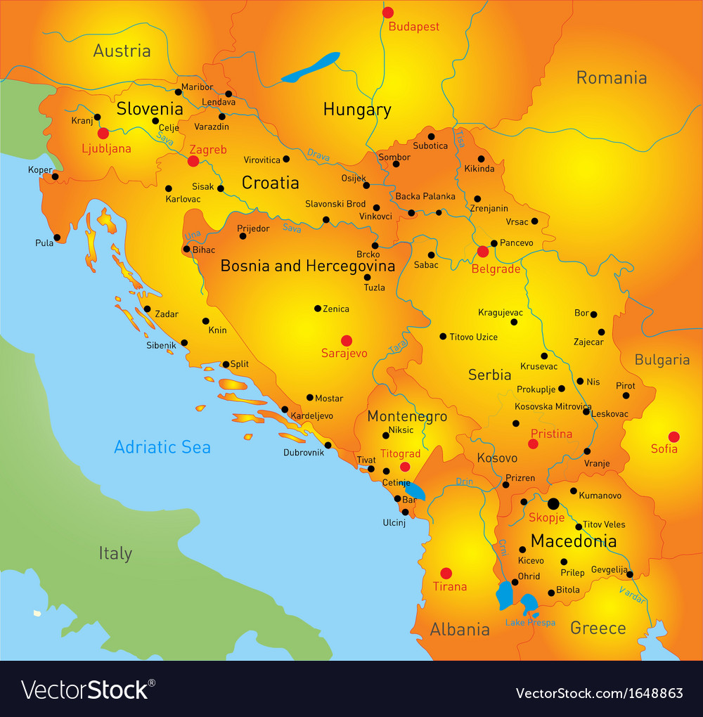 Balkan map vector