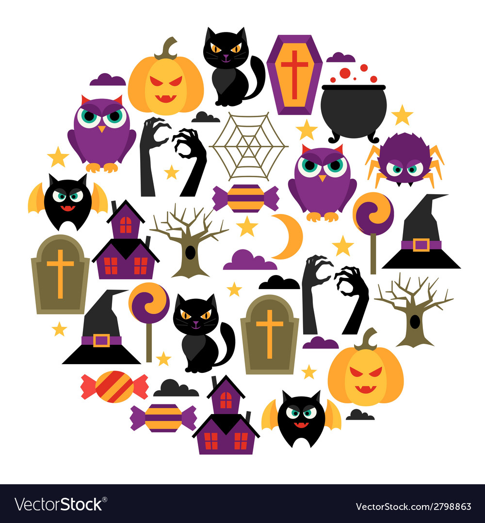 Happy halloween greeting card with flat icons vector