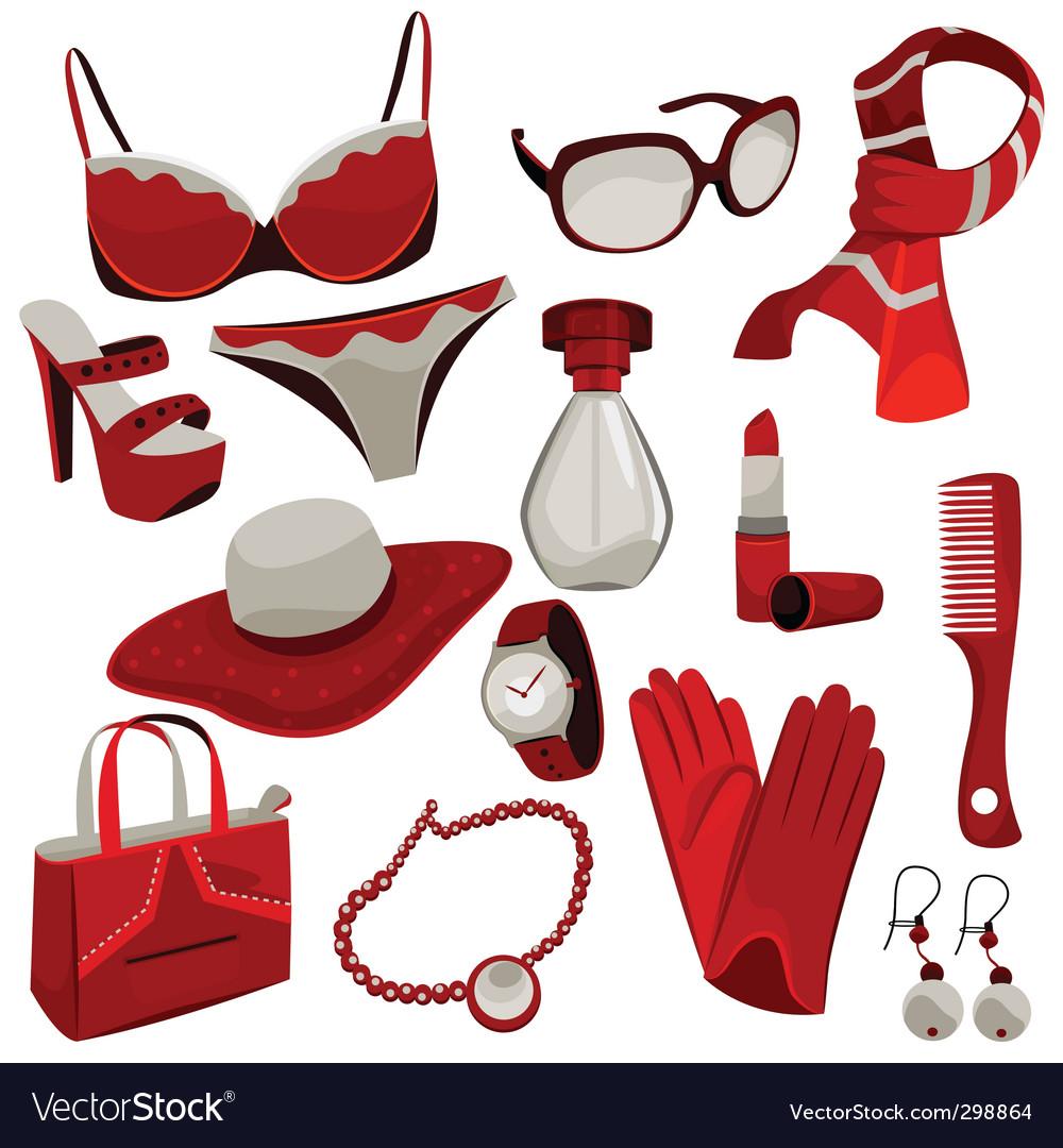 Woman accessories vector