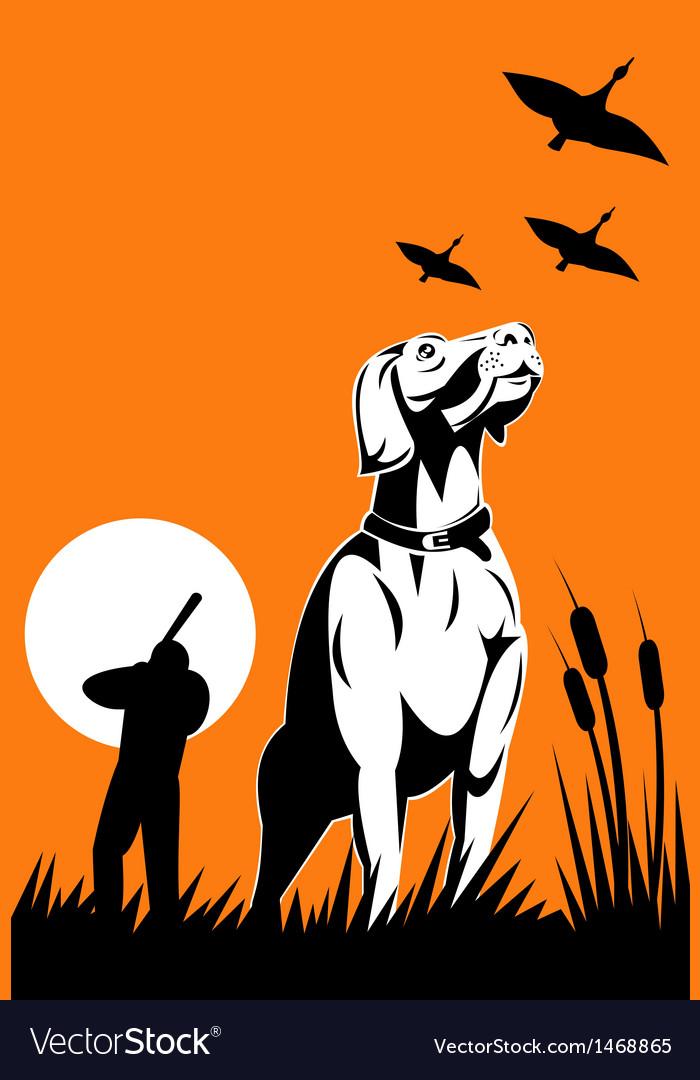 Hunter aiming shotgun with retriever dog vector
