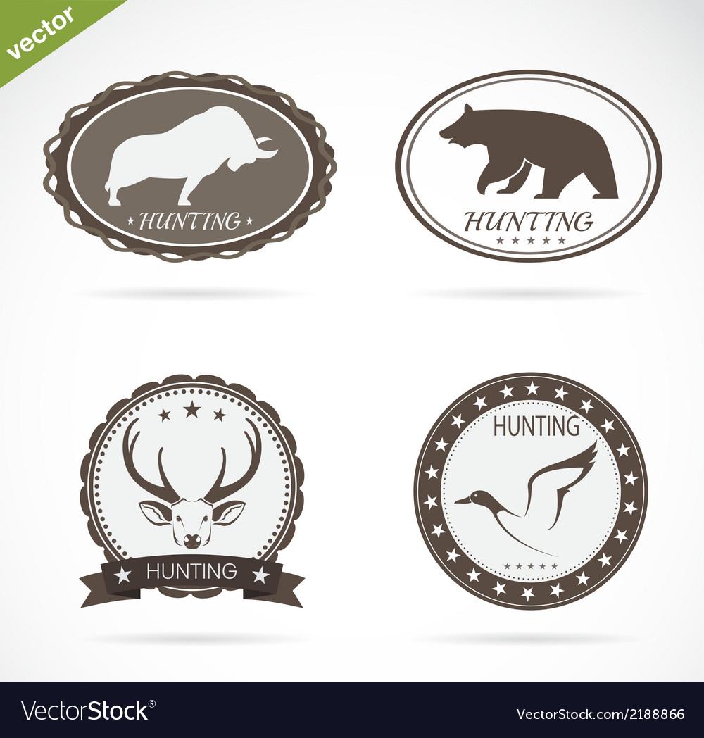 Hunting labels set vector