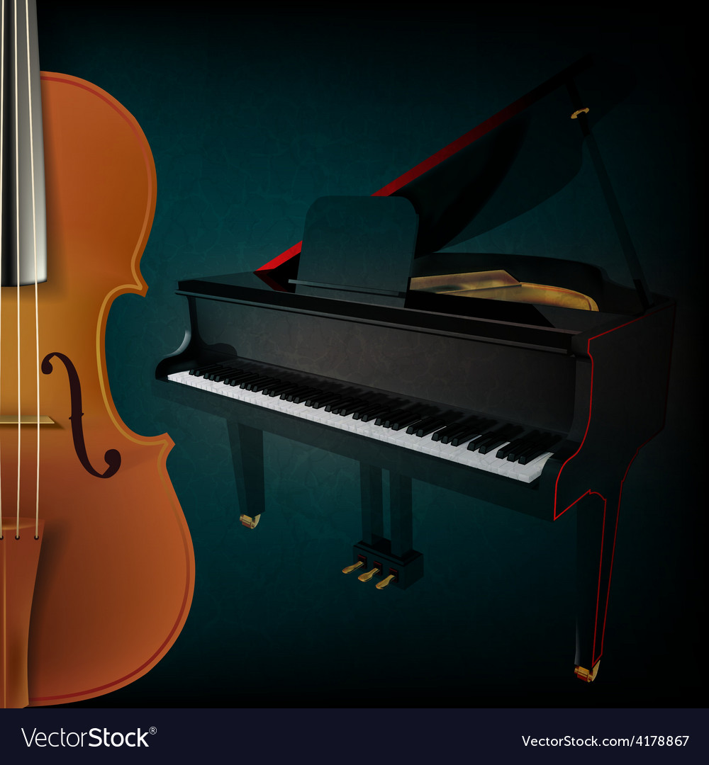 Abstract music grunge dark background with violin vector