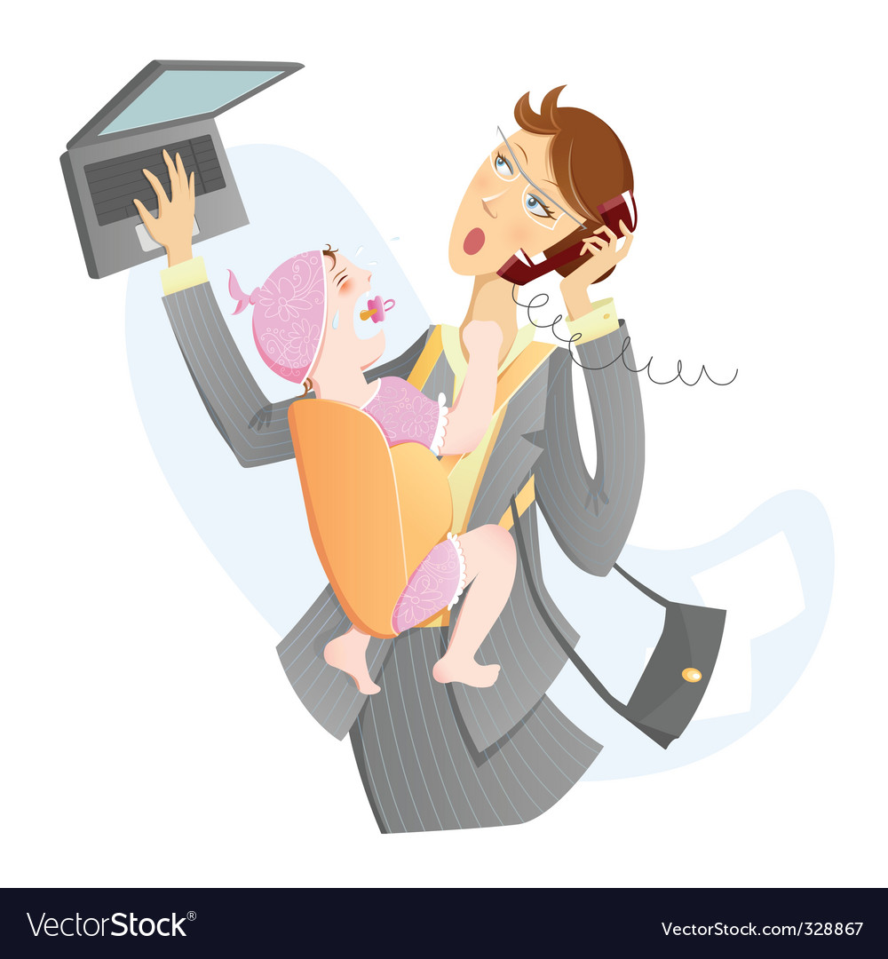 Working mother with a baby vector