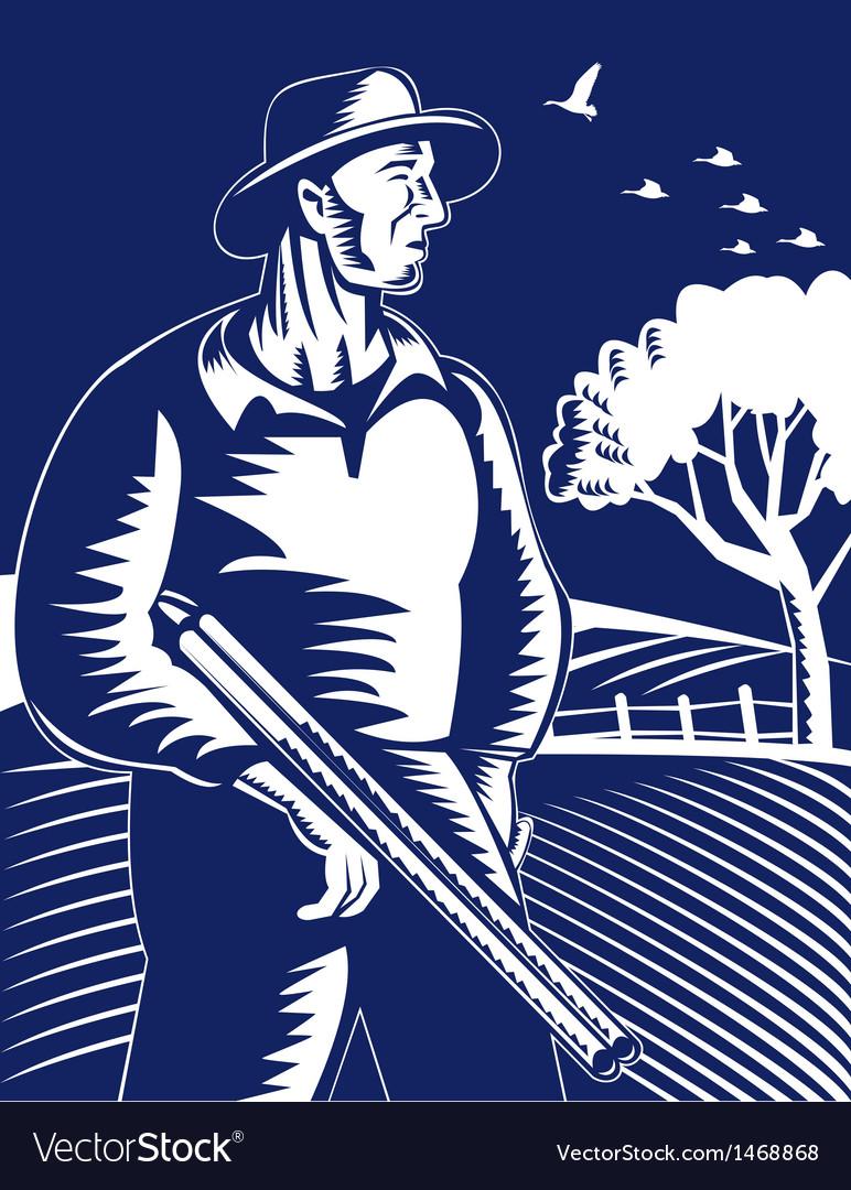Farmer hunter with shotgun rifle vector