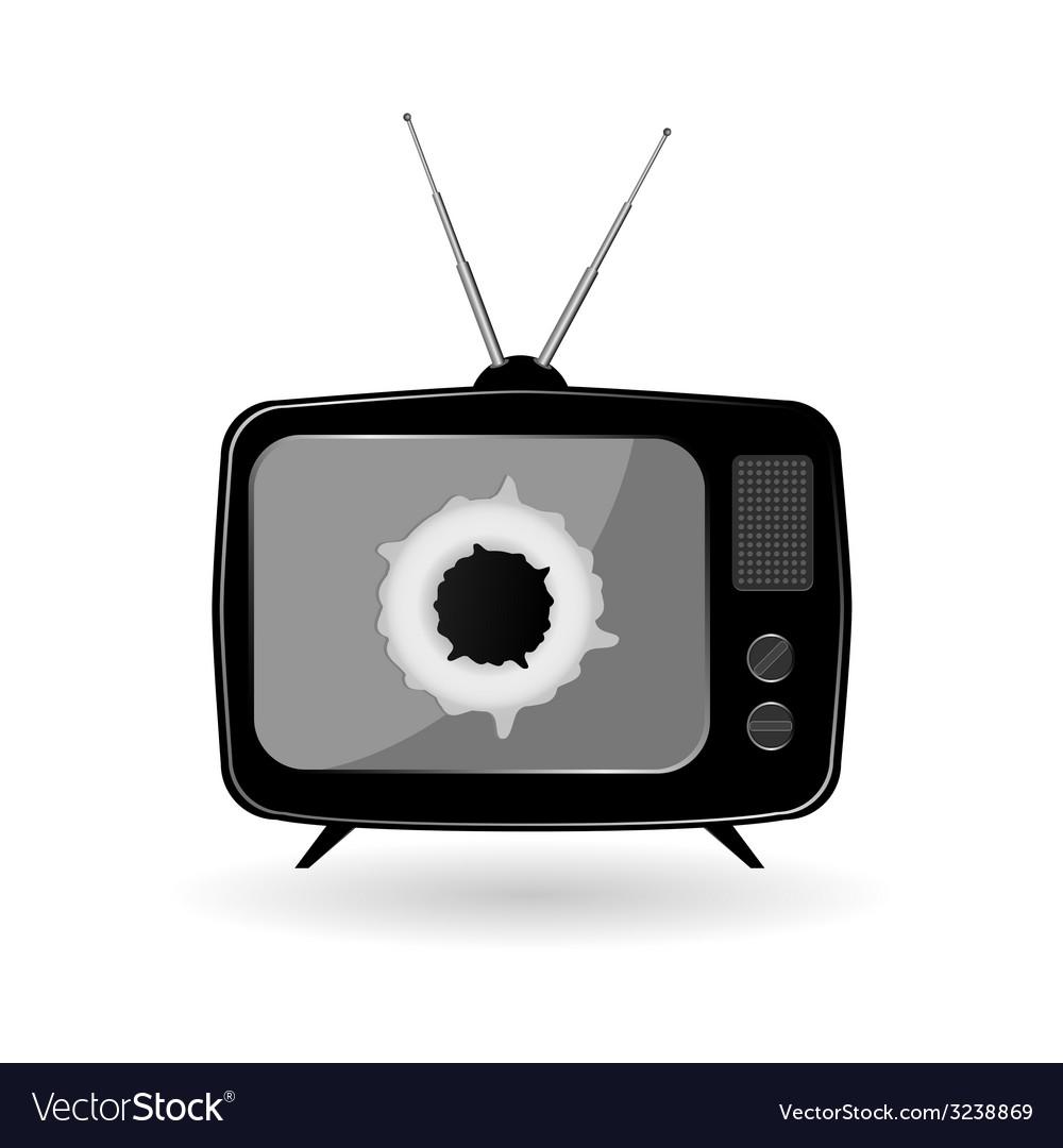 Old black tv vector