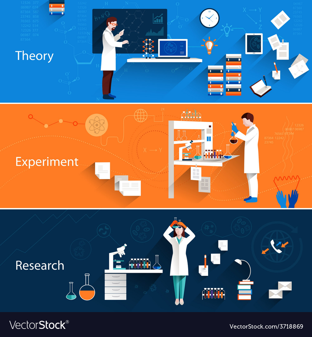Science horizontal banners vector