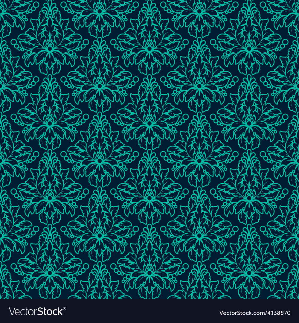 Luxury damask seamless pattern blue color vector