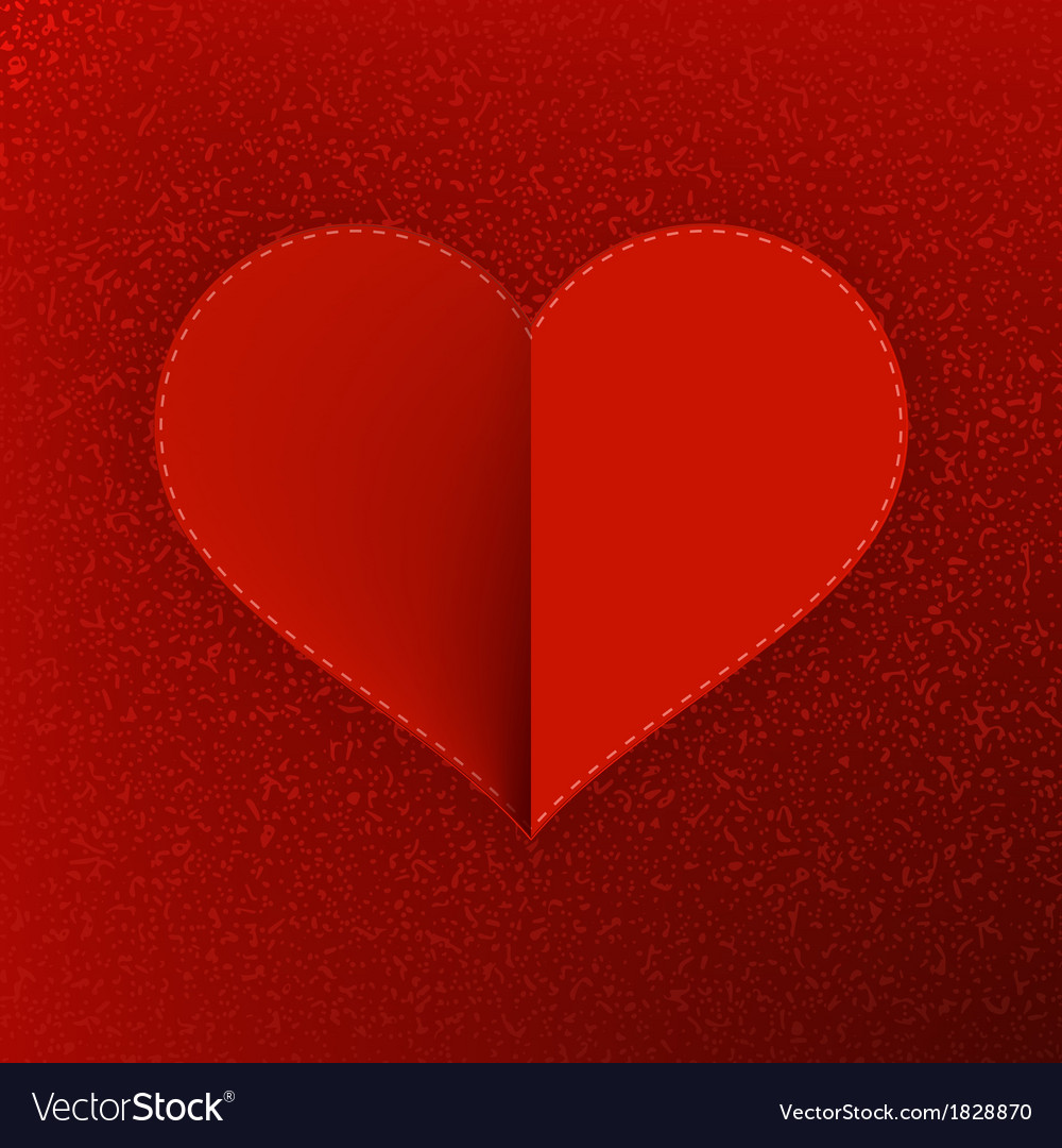 Red paper heart valentines day card  eps10 vector