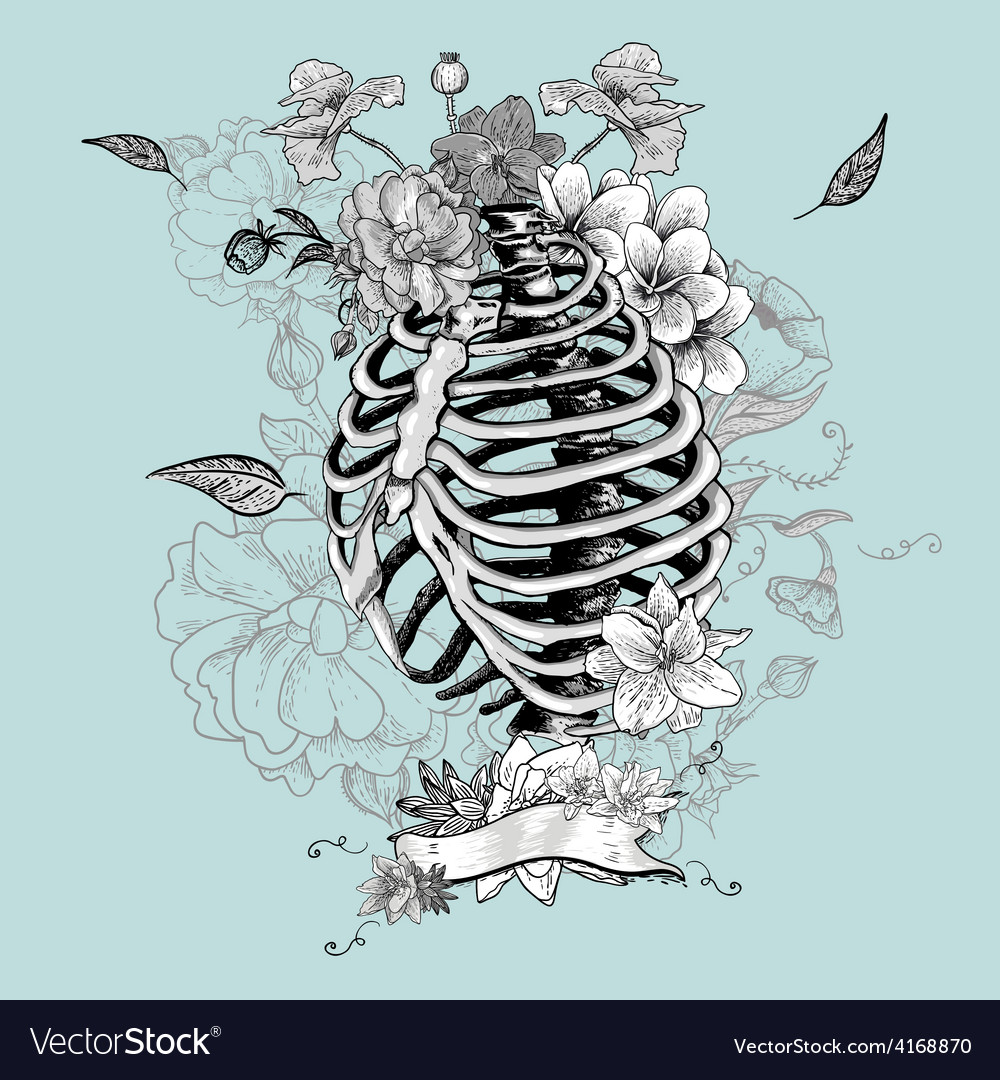 Skeleton ribs and flowers vector