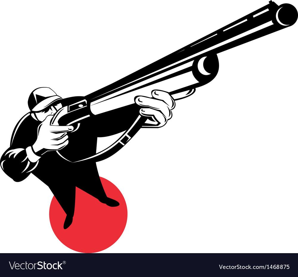 Hunter aiming shotgun rifle vector