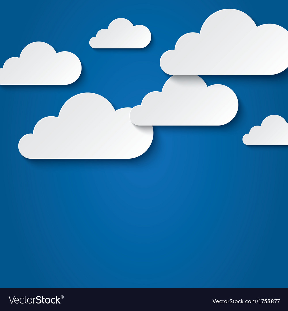 Paper clouds on blue background paper sky vector