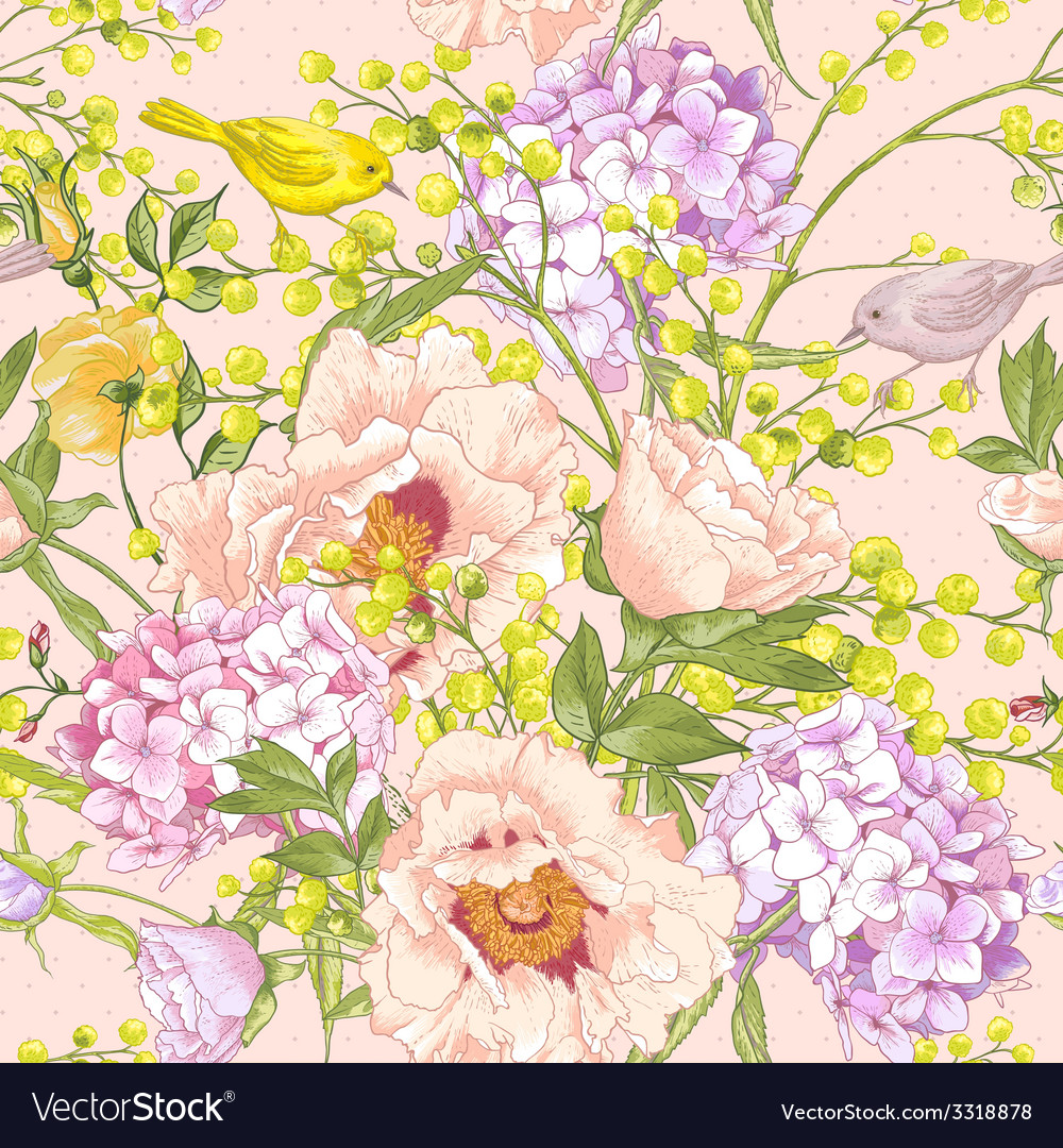 Gentle spring floral seamless background vector