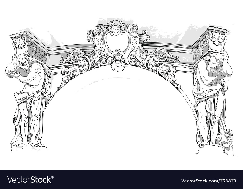 Antique drawing vector
