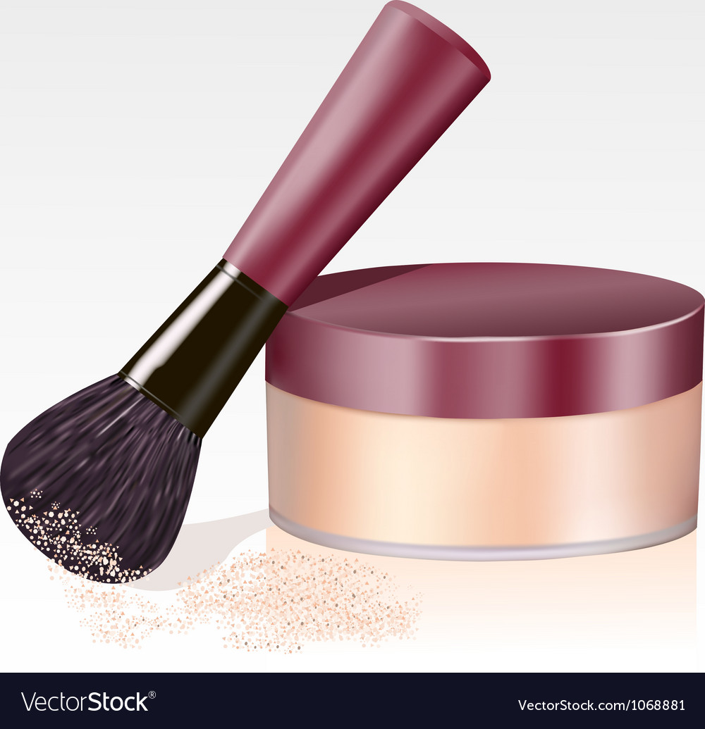 Face powder and brush isolated vector