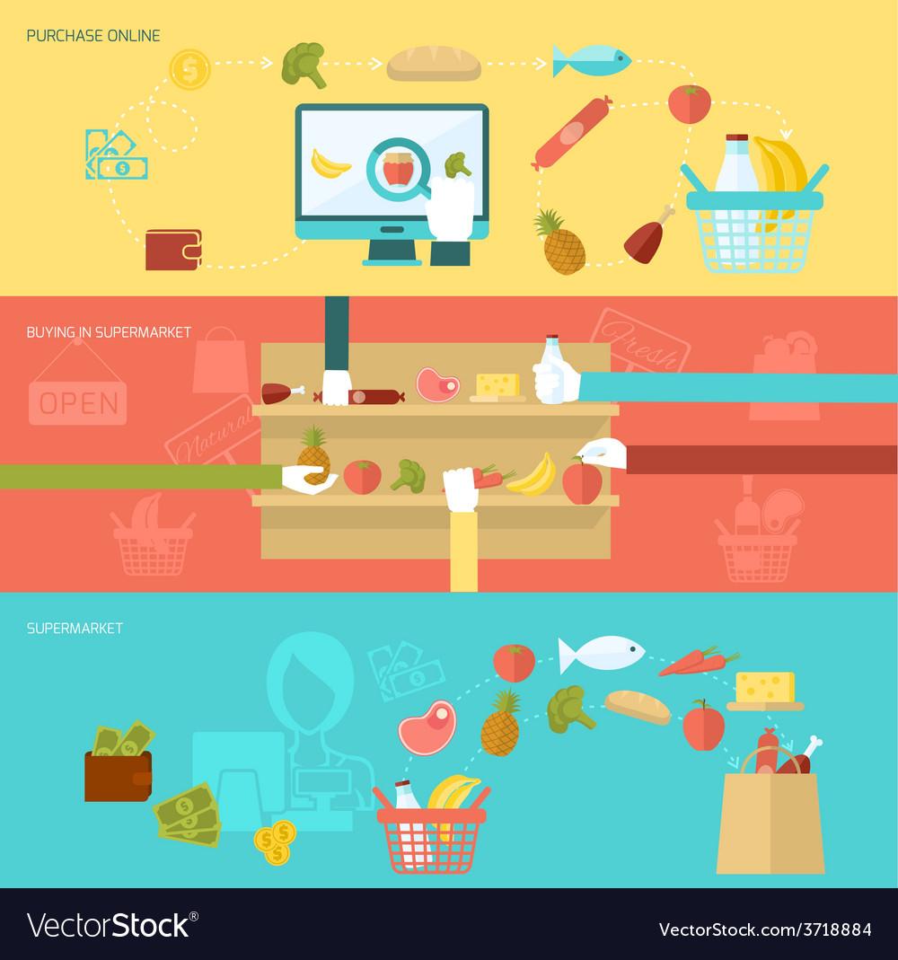 Supermarket banner set vector