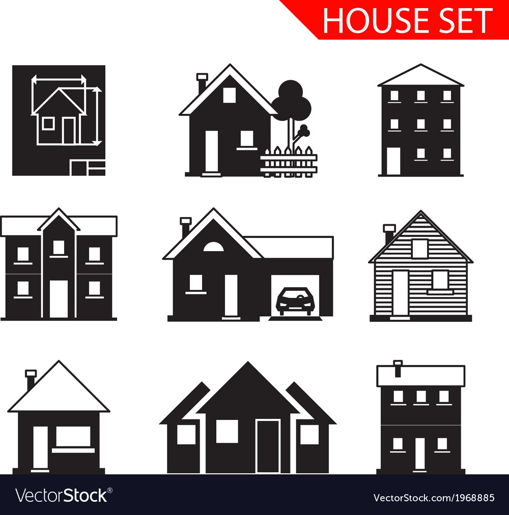 House silhouette icons set isolated vector