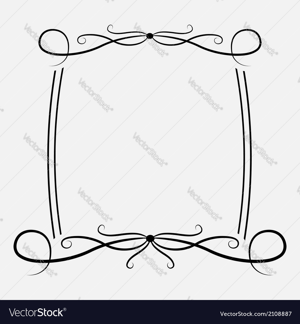 Calligraphic rectangular frame abstract design vector