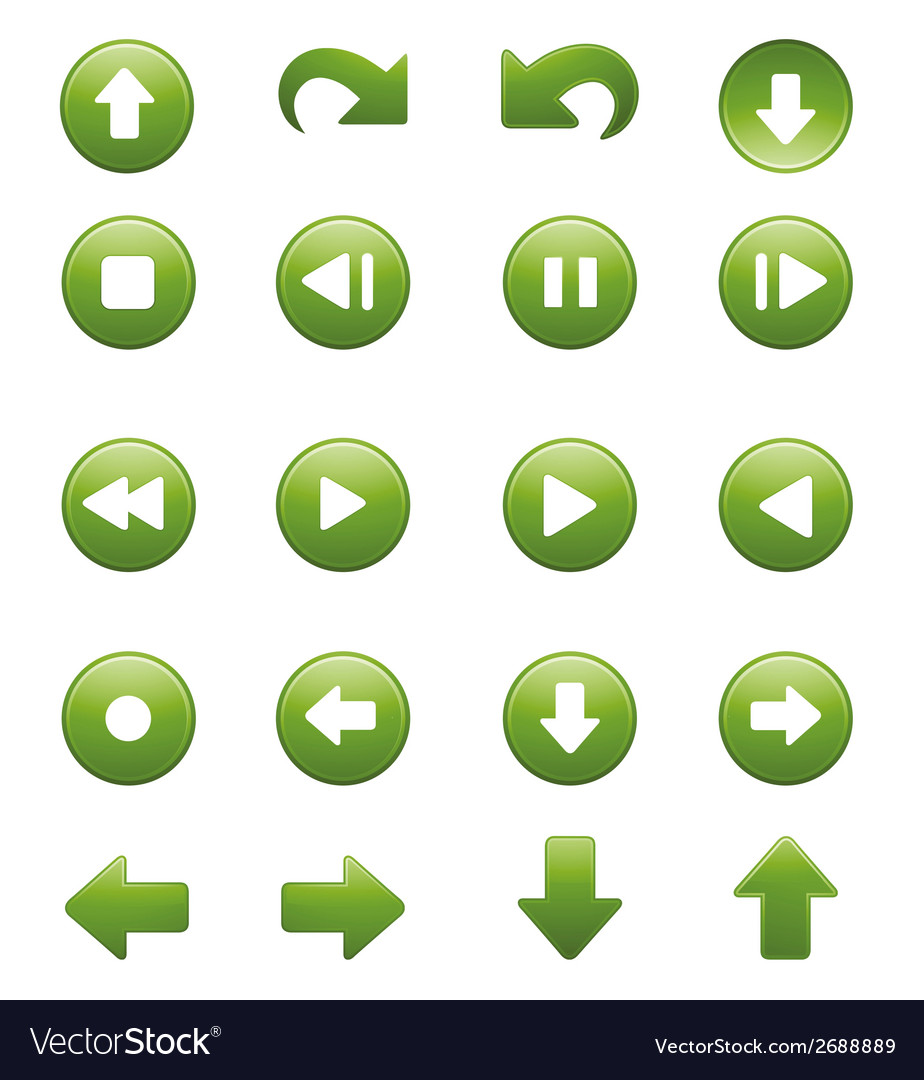 Media player remote control button icon set vector