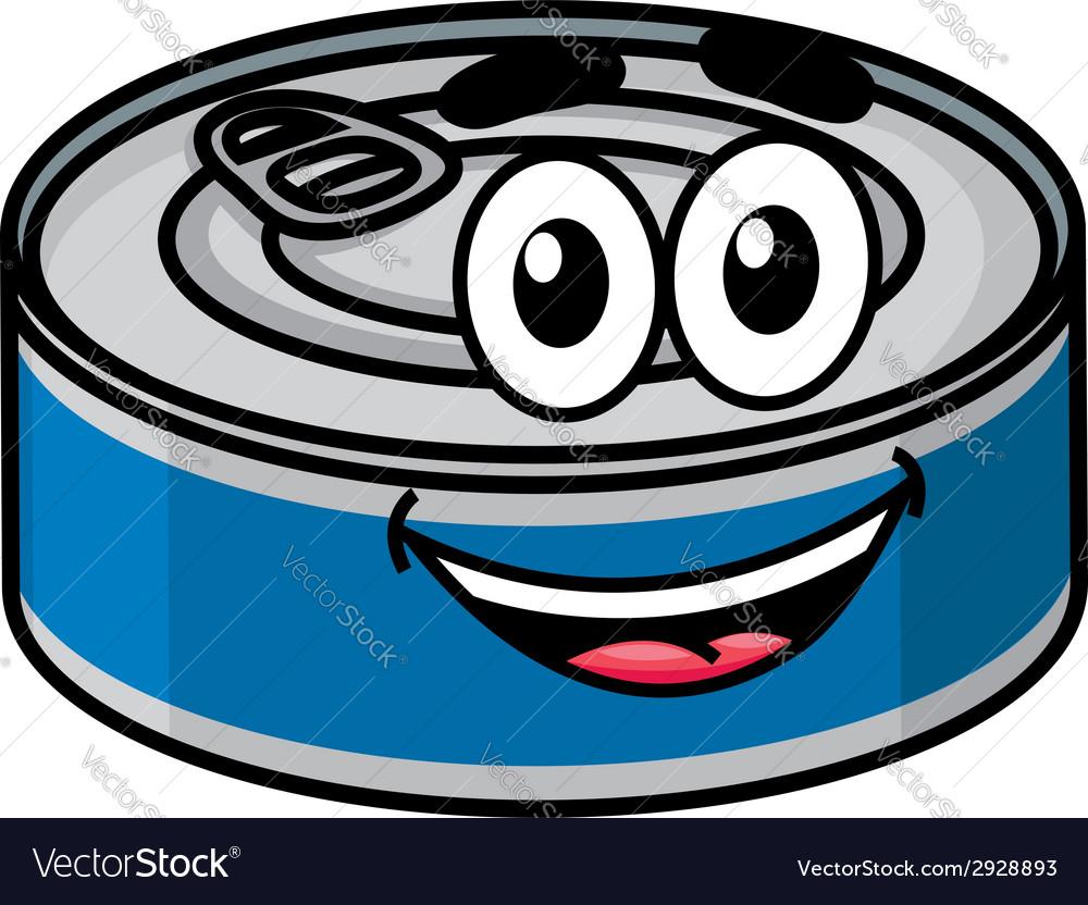 Cartoon happy tin can character vector